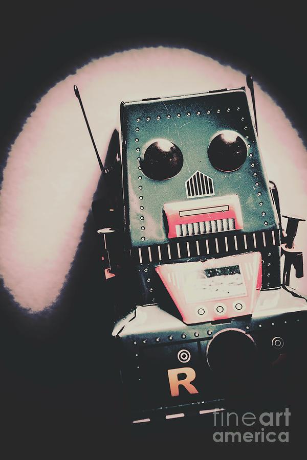 Robot Photograph - Robotic Mech Under Vintage Spotlight by Jorgo Photography - Wall Art Gallery