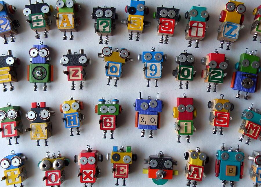 Robots Mixed Media by Jen Hardwick