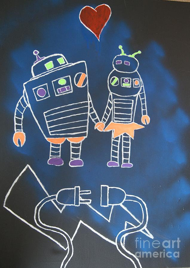 Black Light Painting - Robots Love Too by Travis Dosser