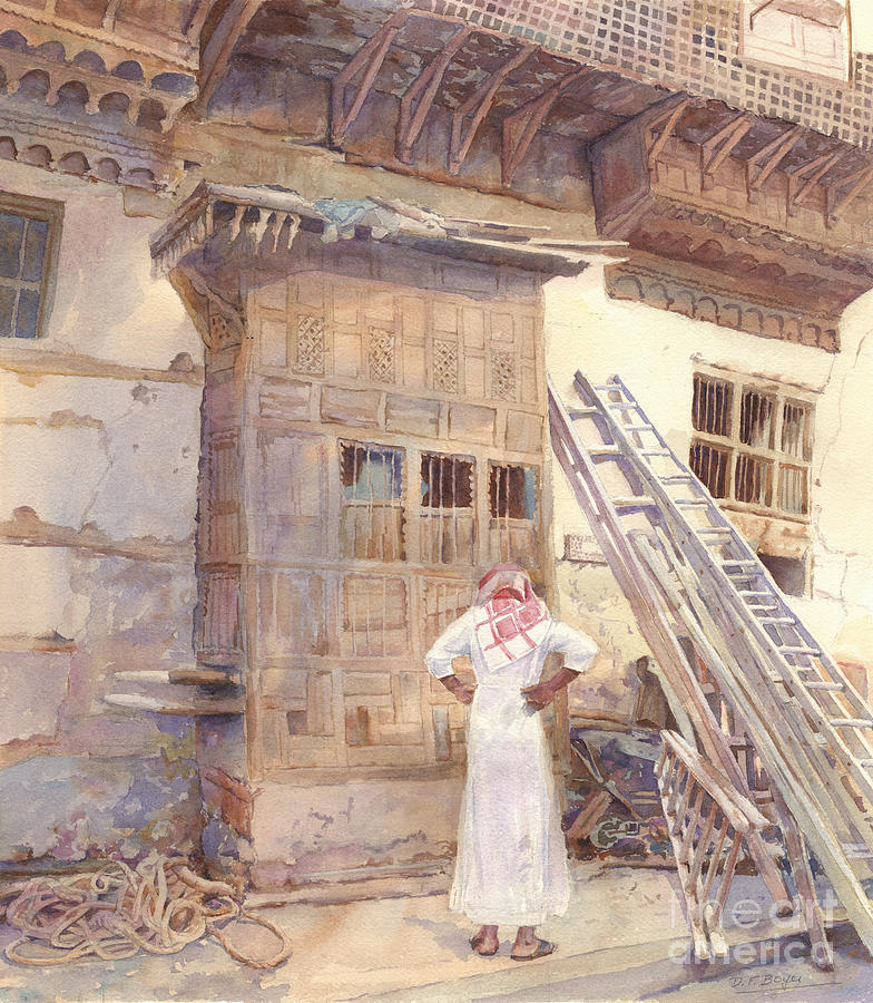 Middle East Architecture Painting - Rochan With Figure by Dorothy Boyer