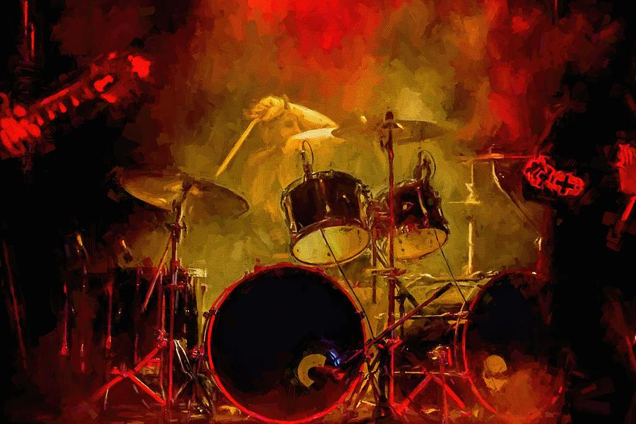 Rock And Roll Drum Solo Digital Art by Louis Ferreira
