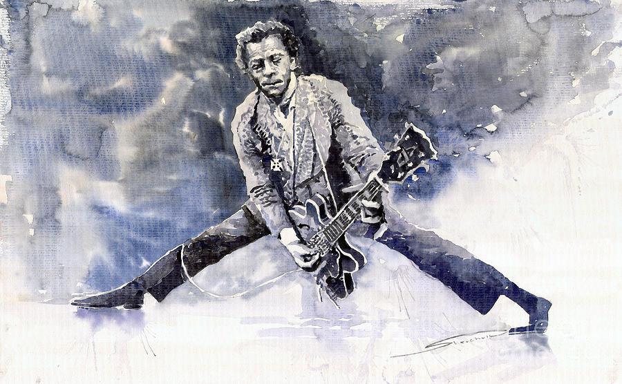 Watercolour Painting - Rock And Roll Music Chuk Berry by Yuriy  Shevchuk