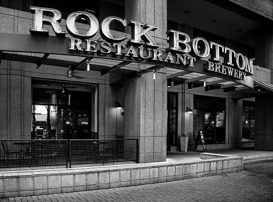 Charlotte Photograph - Rock Bottom Restaurant And Brewery In Black And White by Greg Mimbs