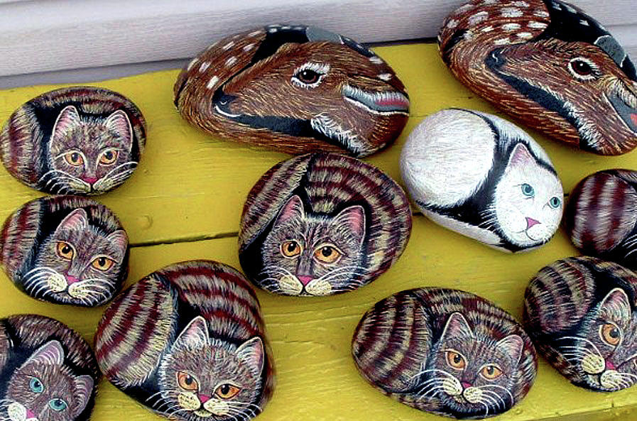Rock Animals Mixed Media - Rock Cats And Fawns by Barbara Griffin