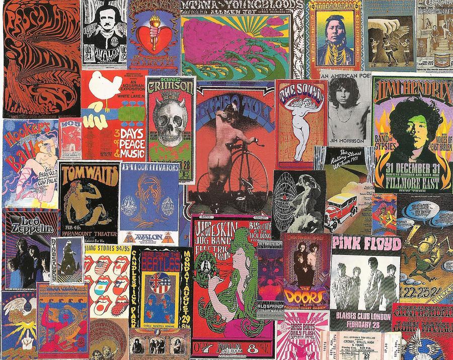 Rock Concert Posters Collage 1 Digital Art By Doug Siegel