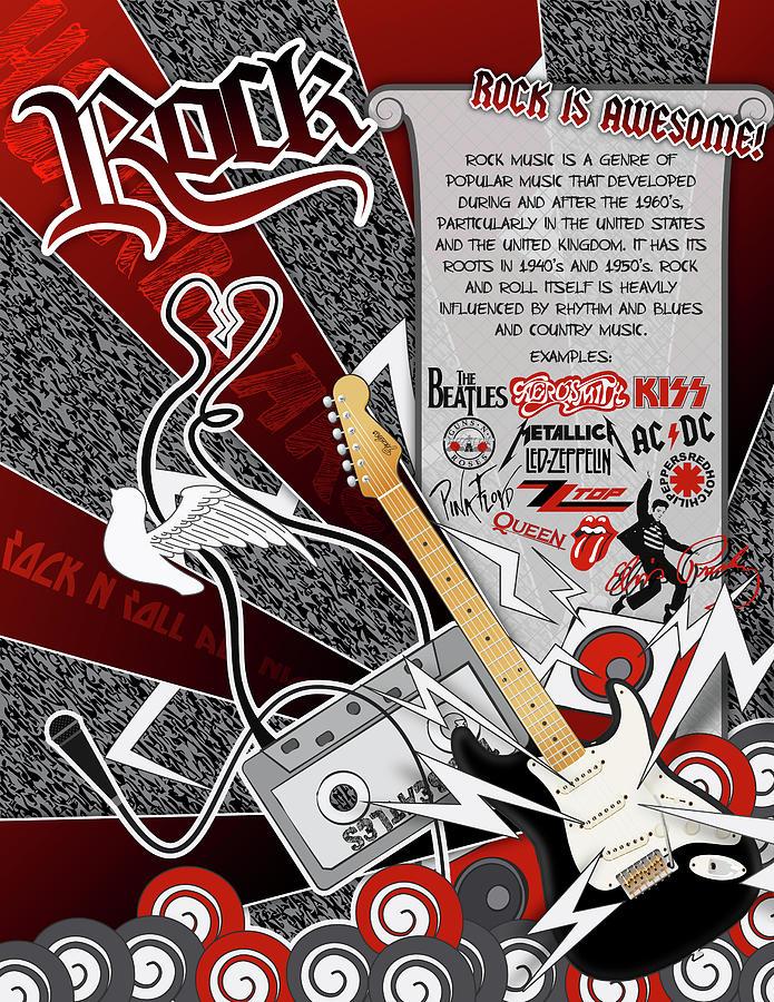 Guitar Digital Art - Rock by Devin Green
