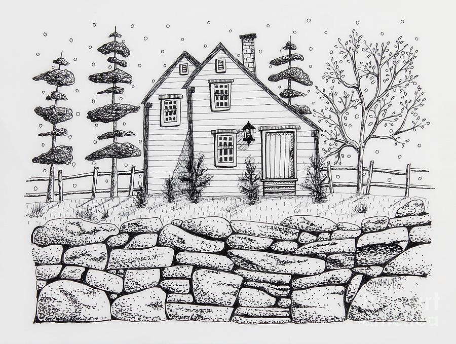 Illustration Drawing - Rock Fence by Karla Gerard