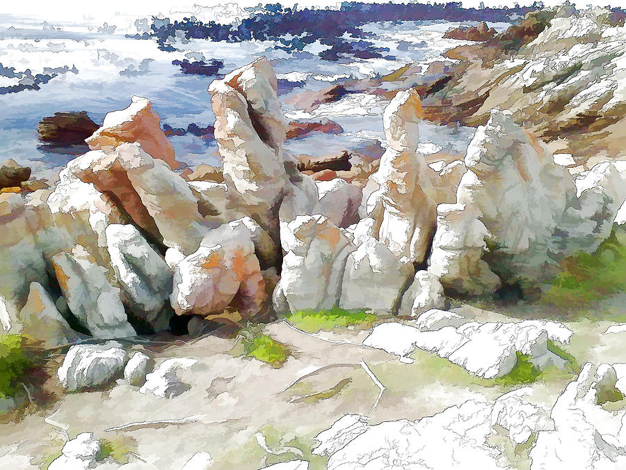 Sea Digital Art - Rock Formation Bettys Bay by Jan Hattingh