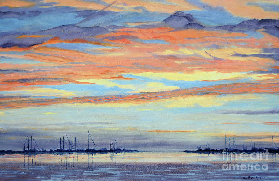 Sunset Painting - Rock Hall Sunset by Cindy Roesinger