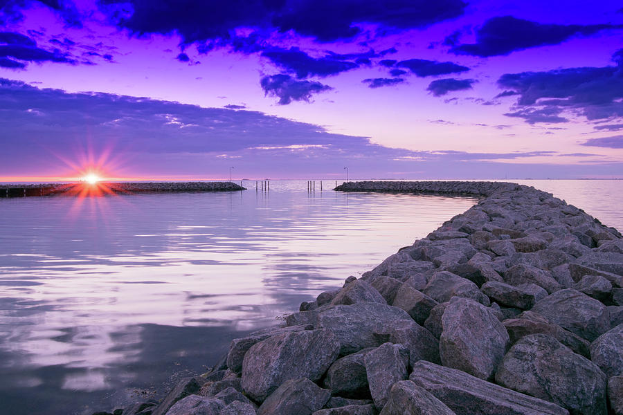 Copenhagen Photograph - Rock Jetty Sunrise by Steven Liveoak