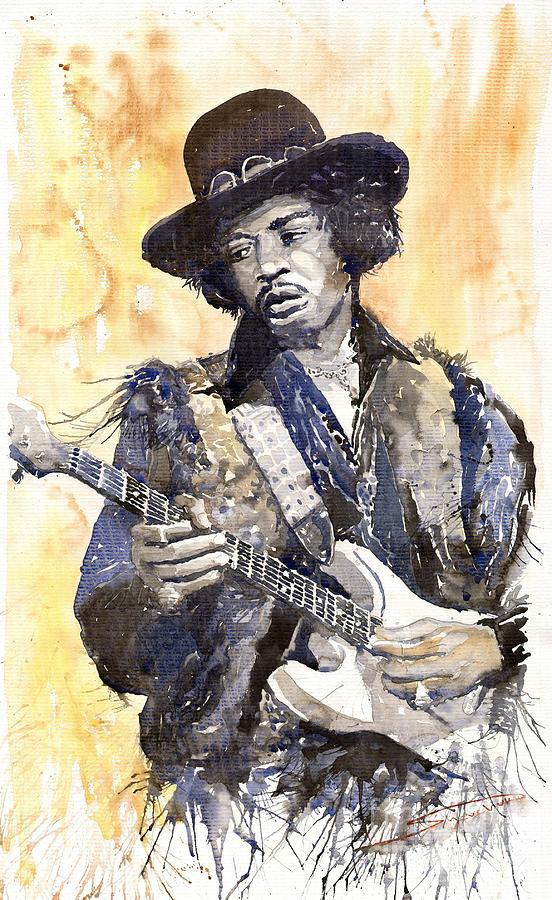 Watercolour Painting - Rock Jimi Hendrix 01 by Yuriy  Shevchuk