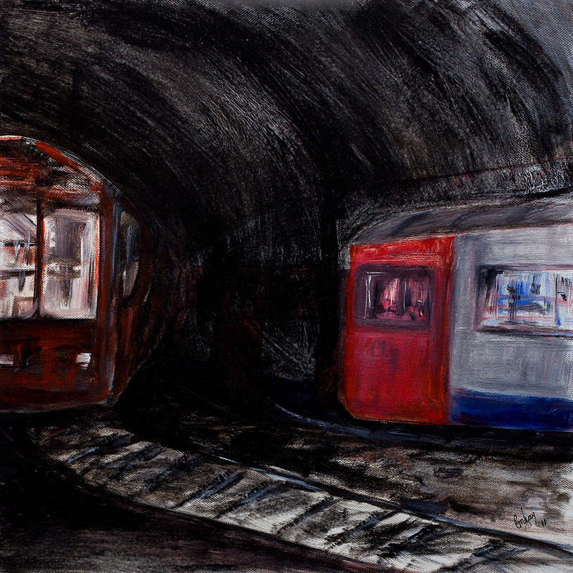 Train Mixed Media - Rock Me London Underground by Emma Kinani