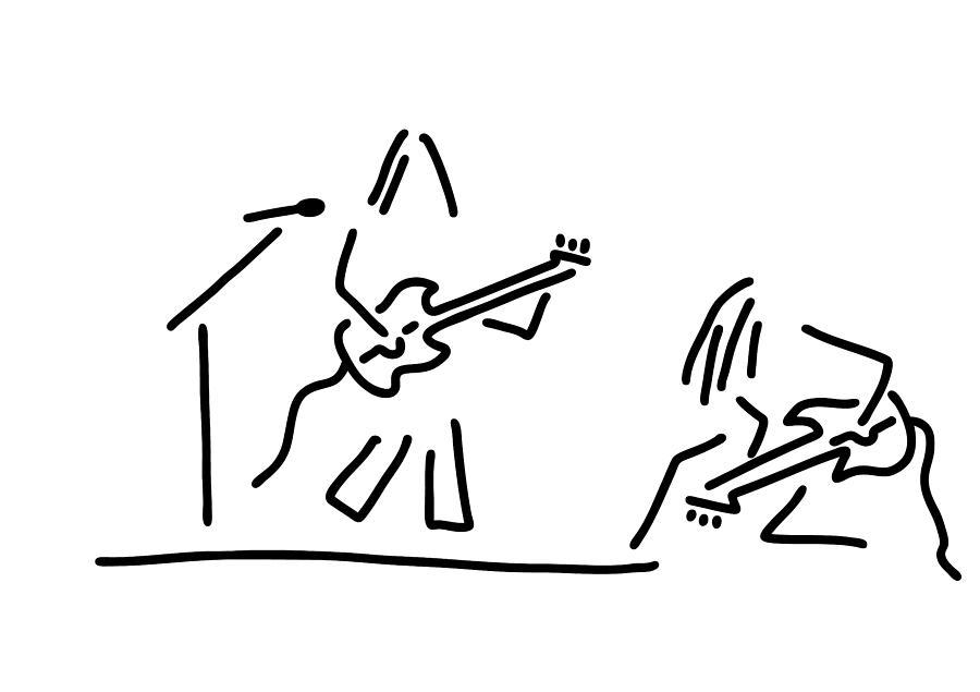 Rock Musician Guitar Headbanger Drawing