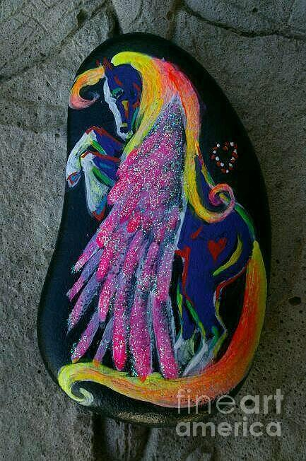 Pegasus Mixed Media - Rock n Ponies - Leap Of Faith Pony  by Louise Green