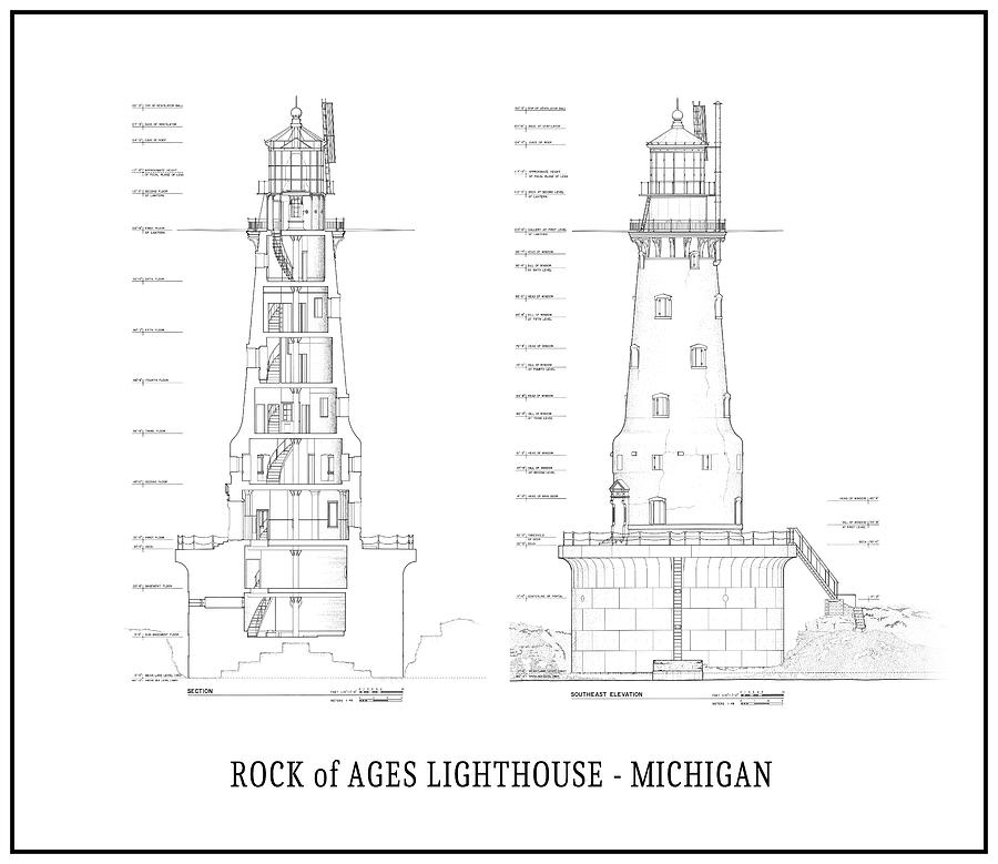 Rock of ages lighthouse blueprint lake superior digital art by michigan digital art rock of ages lighthouse blueprint lake superior by daniel hagerman malvernweather Image collections