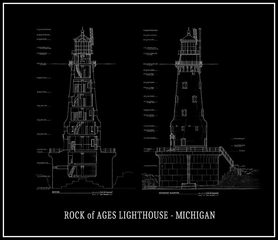 Rock of ages lighthouse blueprint michigan digital art by daniel michigan digital art rock of ages lighthouse blueprint michigan by daniel hagerman malvernweather Gallery