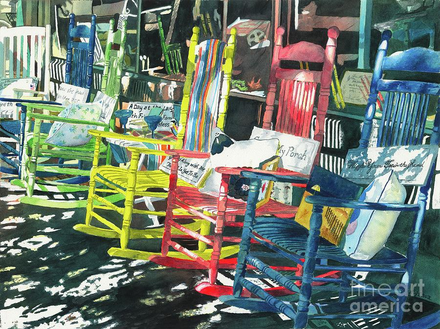 Chairs Painting - Rock On by LeAnne Sowa