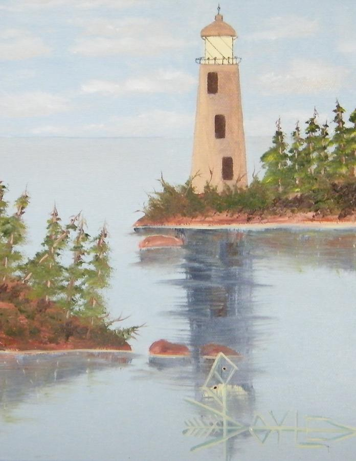 Rock Passage Route Lighthouse Painting by Larry Doyle