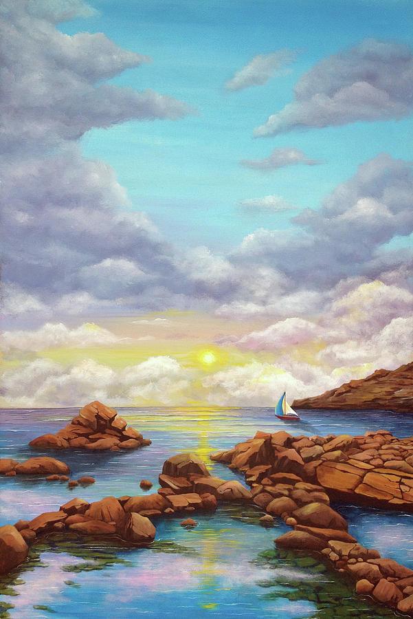 Beach Painting - Rock Pools, Seascape by Debra Dickson