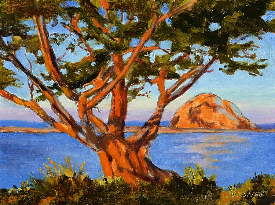 Morro Bay Painting - Rock Reflection - Morro Bay by Lynee Sapere