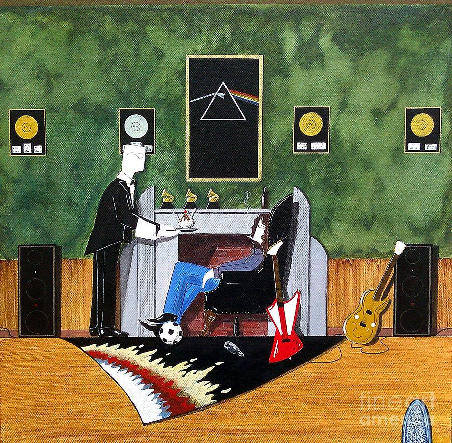 Rock Star Painting - Rock Star Sitting In Chair Served A Sundae By Butler by John Lyes