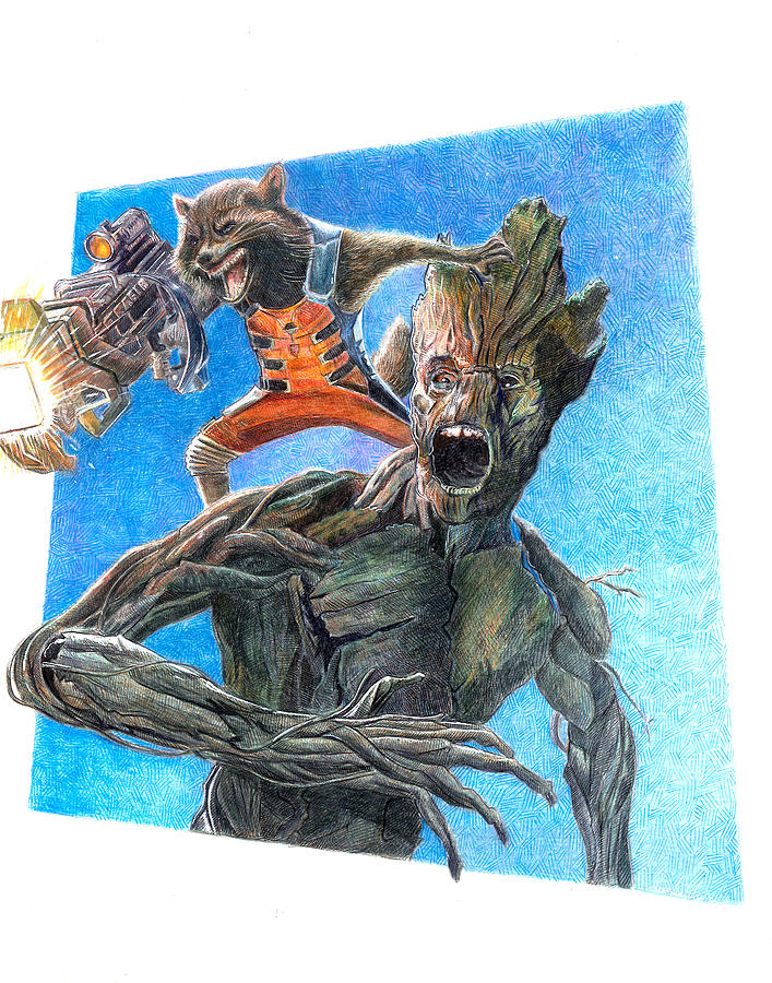 Rocket And Groot Drawing By Serafin Ureno