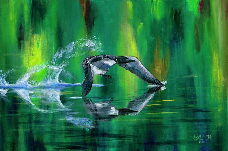 Loons Painting - Rocket Feathers by Joe Baltich