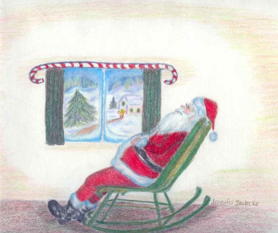 Santa Claus Drawing - Rockin Santa by Jennifer Skalecke