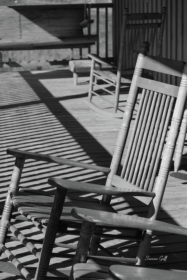 Rocking Photograph   Rocking Chair Porch In Black And White By Suzanne Gaff
