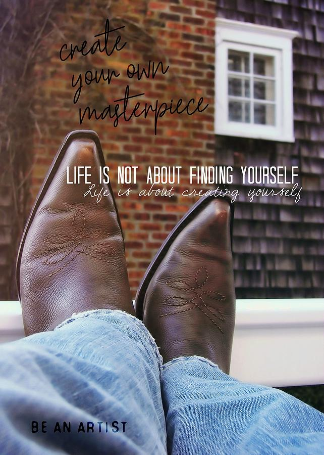 Cowboy Photograph - Rocking Kicks Quote by JAMART Photography