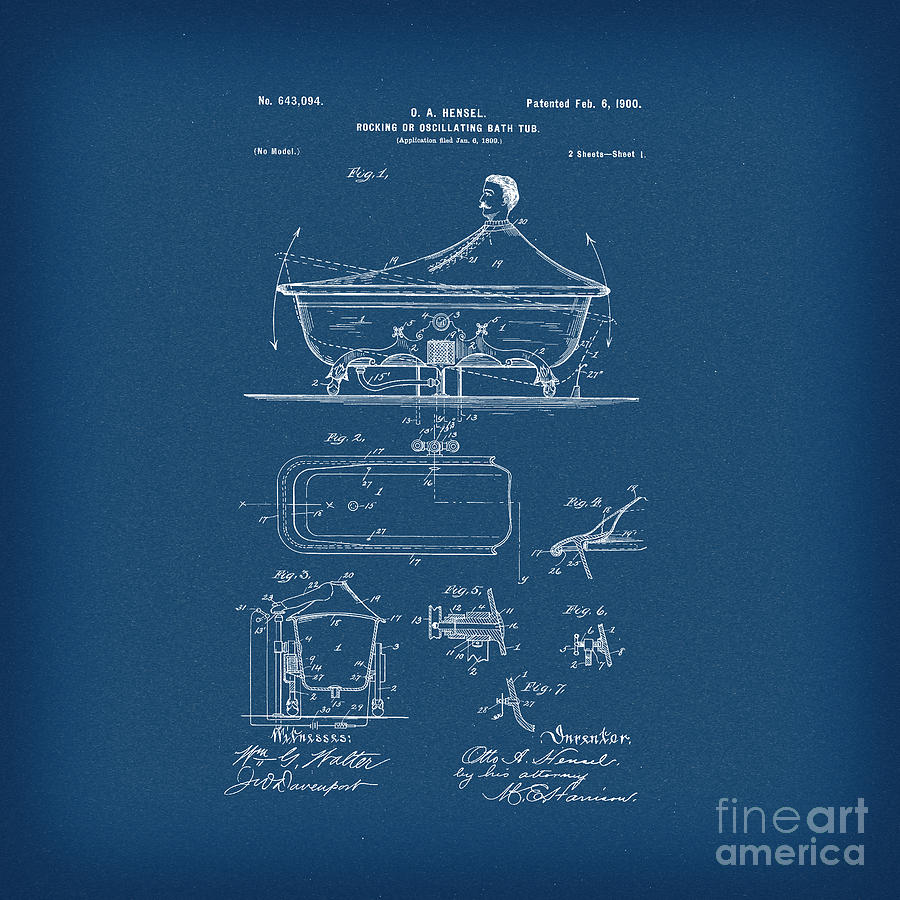 Rocking oscillating bathtub patent engineering blueprint drawing by invention drawing rocking oscillating bathtub patent engineering blueprint by pod artist malvernweather Choice Image