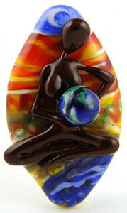 Glass Glass Art - Rocking The Earth by Sheila Morley