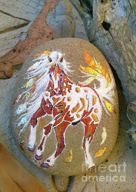 Appaloosa Mixed Media - Rocknponies - Pony Of The Falling Leaves by Louise Green