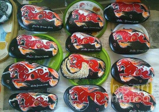 Painted Rock Mixed Media - Rocknponies - Spirit Fire Ponies by Louise Green