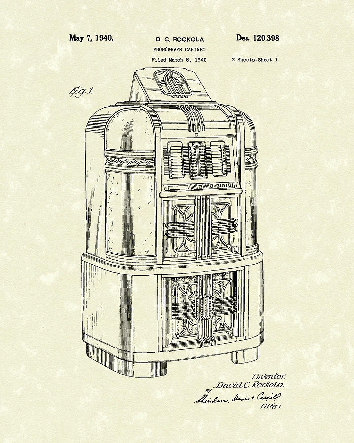 Rockola Drawing - Rockola Phonograph Cabinet 1940 Patent Art by Prior Art Design
