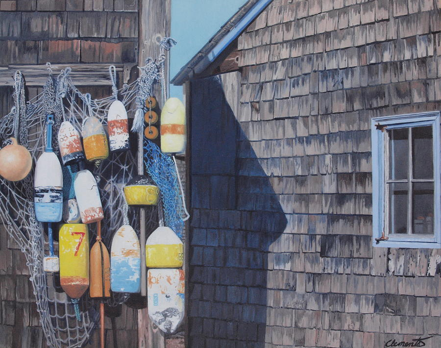 Rockport fishing shack with lobster-buoys and nets by Barbara Barber