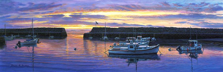 Boat Painting - Rockport Ma Sunset by Bruce Dumas