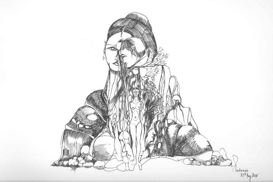 Surreal Drawing - Rocks and bodies by Padamvir Singh