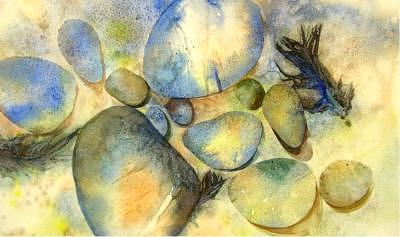 River Rocks Painting - Rocks And Feather by Marlene Gremillion