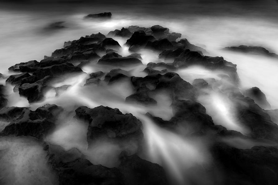 B&w Photograph - Rocks And Mist by Cole Thompson