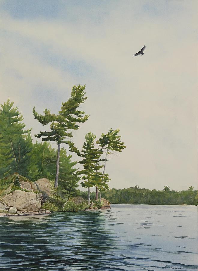 Lake Painting - Rocks And Pines No.1 by Debbie Homewood