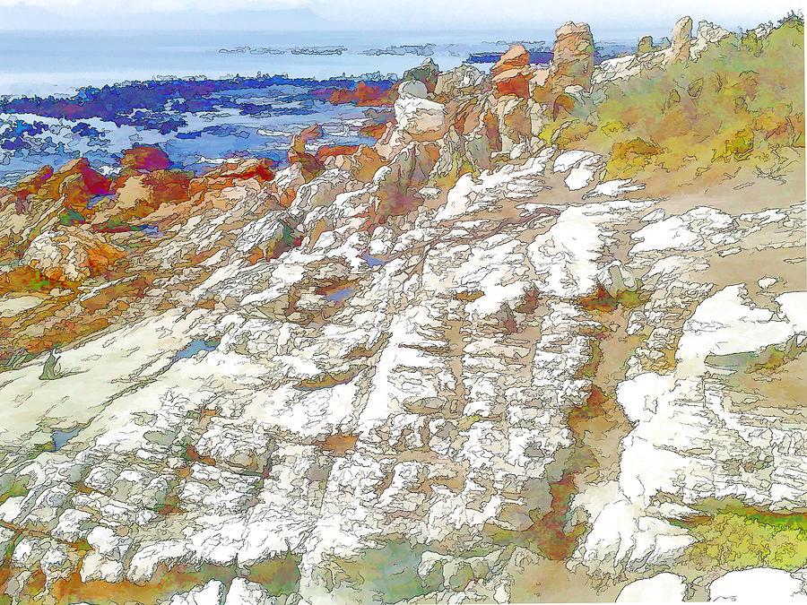 Rocks Digital Art - Rocks And Sea by Jan Hattingh