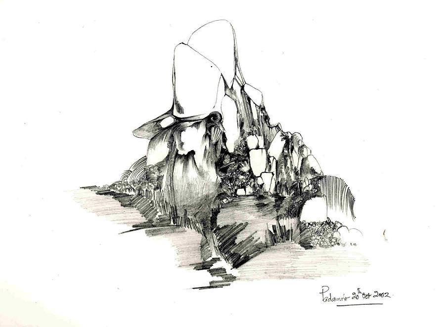 Rocks Drawing - Rocks And Some Grass by Padamvir Singh