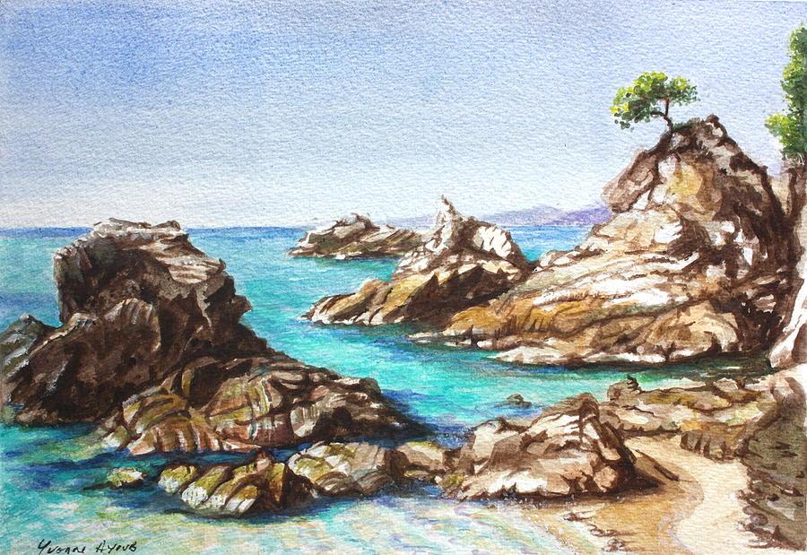 Beach Painting - Rocks At Kalamaki by Yvonne Ayoub