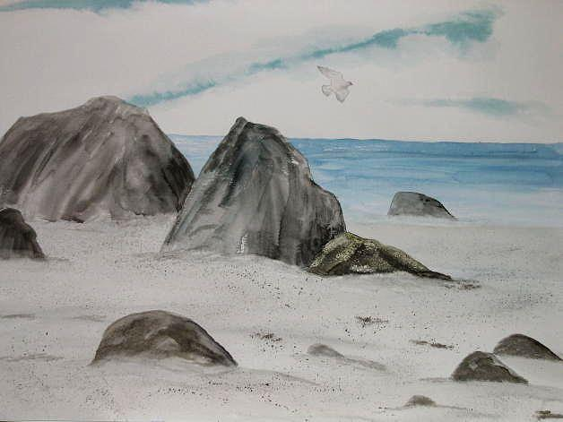Oregon Coast Painting - Rocks At The Coast by Dora Gourley