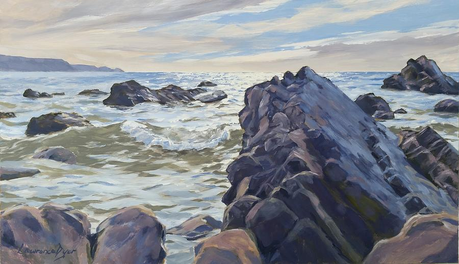 Widemouth Bay Painting - Rocks At Widemouth Bay, Cornwall by Lawrence Dyer