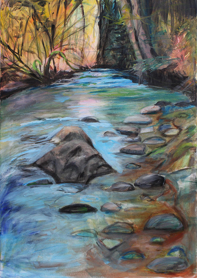 Rocks Painting - River Bed by Denice Palanuk Wilson