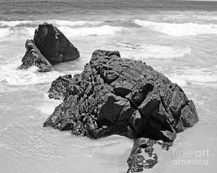 Rocks On A Beach Byron Bay Black And White Image Photograph