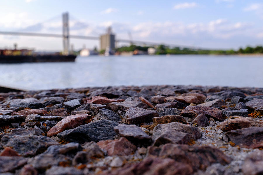 Rocks River And A Bridge In Savannah Georgia by John McLenaghan