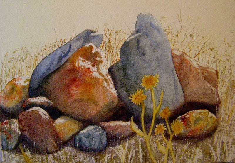 Landscape Painting - Rocks by Teresa Boston